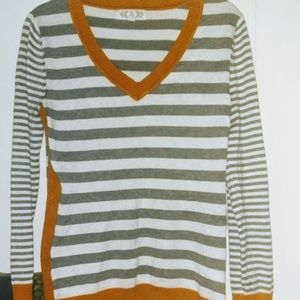 Pink rose- White/gray/orange striped sweater